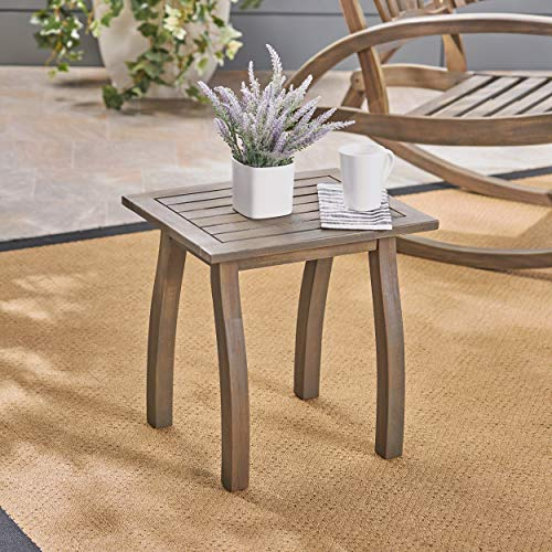 Great Deal Furniture 306099 Sadie Outdoor Acacia Wood Accent Table, Gray Finish (Gray Wood Patio Furniture)