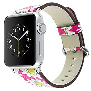 HotGlows Cute Daisy Pattern Leather 38mm Replacement Wristband Strap for Women Men, Apple Watch Bands Compatible with Apple Watch Nike+ Series 3 Series 2 Series 1 Sports Edition (Hot Pink-38mm)