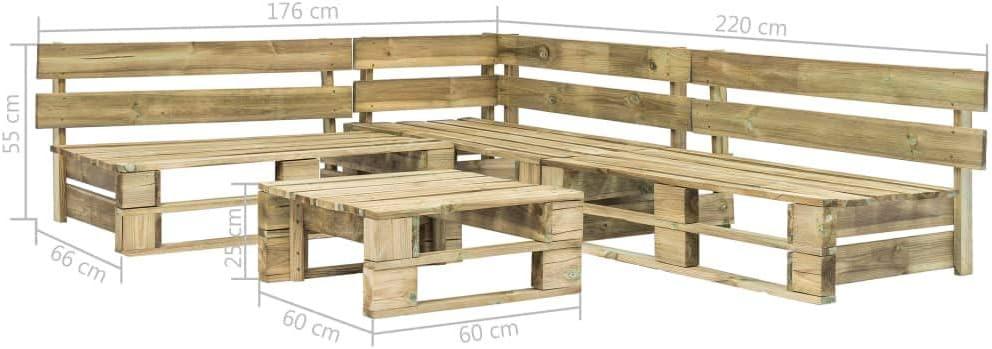 UnfadeMemory Sofa Palets Exterior o Interior con Mesa de Centro,Sof/ás de Exterior,Conjunto de Muebles de Jard/ín Patio o Sala de Estar,Madera FSC 4 Piezas,220x126x55cm, Verde