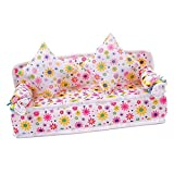 DierCosy Mini Flower Sofa Couch +2 Cushions For Doll House Accessories