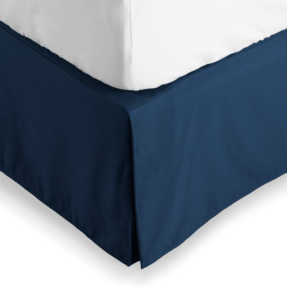 Bare Home Bed Skirt Double Brushed Premium Microfiber, 15-Inch Tailored Drop Pleated Dust Ruffle, 1800 Ultra-Soft Collection, Shrink and Fade Resistant (Queen, Dark Blue)