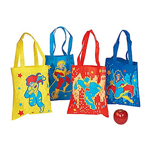 """12 ~ Superhero Tote Bags / Gift Bags ~ Size: 10"""" x 12"""" with 7 1/2"""" handles. ~ Non-woven Polyester ~ New"""