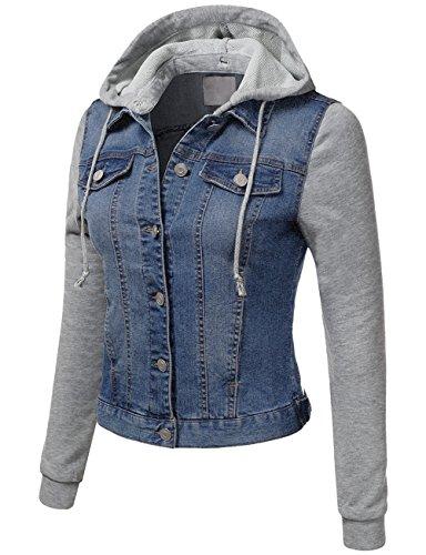 KOOLDO Womens Denim Jacket Lightweight Fleece Hoodie, Sleeve and Pockets-M-Blue