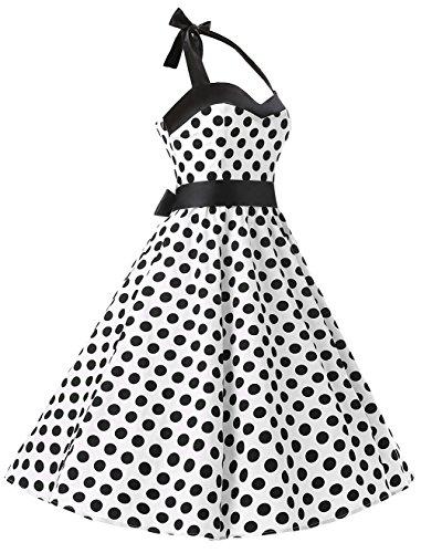 Vestito Rockabilly Dot Dresstells Audrey Retrò Dress Cocktail Annata Pois 1950 Bianco Nero RSxR7Zq