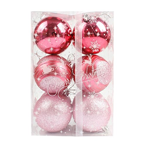Hot Sale! Clearance!Todaies 12pcs Christmas Tree Xmas Balls Decorations Baubles Party Wedding Ornament (8cm, Pink)