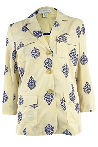 Charter Club Women's Embroidered Cotton Blazer (XS, Honied - Cotton Embroidered Blazer