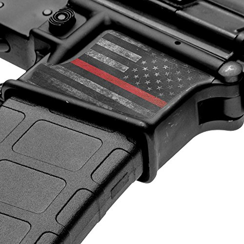 GunSkins Magwell Skin Specialty Vinyl Decal for AR-15/M4 Lower Receivers (GS Thin Red Line)