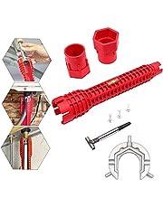 Dingzing Gootsteensleutel Kraansleutel Multifunctionele kraan Sink Installer Wrench Sanitair gereedschap voor keuken Badkamerkraan, toiletpot, aanrecht, sanitair (rood)