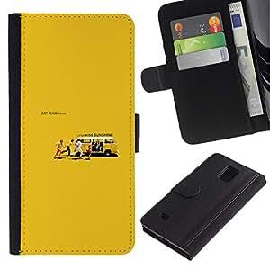 LECELL--Cuero de la tarjeta la carpeta del tirón Smartphone Slots Protección Holder For Samsung Galaxy Note 4 IV -- Miss Sunshine --
