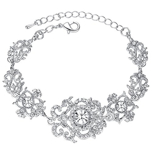mecresh Silver Crystal Rhinestone Wedding Bracelet for Women Brides Bridesmaid ()