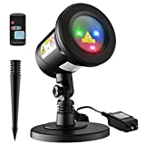 Homitt 9 patterns Christmas Projector Light, Waterproof Landscape Lamp Moving Rotating Spotlight with RF Remote Control for Halloween, Party, Bar, Wedding, Living Room and Garden Decoration