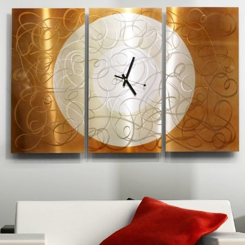 Large Silver & Copper Contemporary Metal Hanging Wall Clock - Modern Metal Wall Art