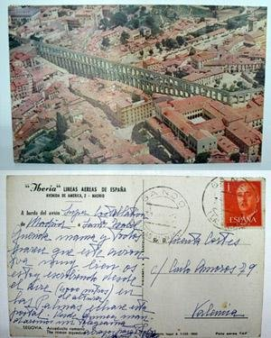Antigua postal publicidad. Old advertising post card - IBERIA - Lineas aereas de España. SEGOVIA - Acueducto Romano: Amazon.es: Sin autor: Libros