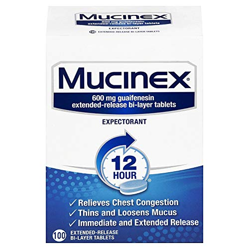 Chest Congestion, Mucinex 12 Hour Extended Release Tablets, 100ct, 600 mg Guaifenesin with extended relief of  chest congestion caused by excess mucus, thins and loosens mucus (Best Way To Make A Headache Go Away)