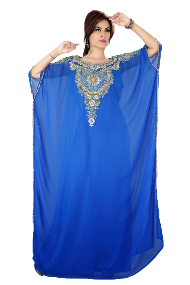Kolkozy Fashion Women's Gulf Style Arabic Long Kaftan Dress Blue Size S