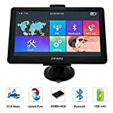 SAT NAV GPS Navigation System, 7 inch Bluetooth 8GB 256MB Jimwey Car Truck Lorry Satellite Navigator Device with Post Code POI Search Speed Camera Alerts, with UK&EU 2018 Maps Lifetime Free Update