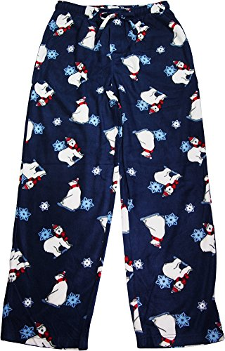 NORTY Rio Mens Polar Bear Winter and Snowflakes Fleece Sleep Lounge Pajama Pant, Navy (Polar Bear Fleece Pajamas)