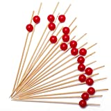 Cocktail Picks Handmade Bamboo Toothpicks 4.7'' Multicolor Party Supplies (100 Count, Red Pearl)