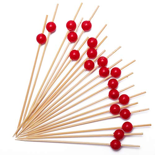 Cocktail Picks Handmade Bamboo Toothpicks 4.7'' Multicolor Party Supplies (100 Count, Red Pearl) by AI-DEE (Image #1)