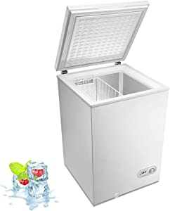 Kismile 3.5 Cubic Feet Chest Freezer with Removable Basket Free Standing Top open Door Compact Freezer with Adjustable Temperature for Home/Kitchen/Office/Bar (White)