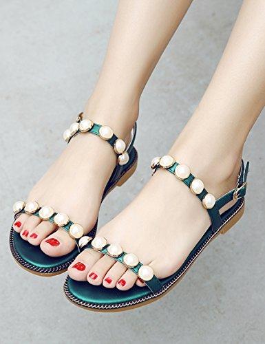 semplici amp;Sandali Colore da XIA dimensioni studenti piatta 5 pantofole con UK5 open B EU38 Donna perla toed Sandali Sandali d'estate CN38 selvaggi 6w7SdwZq