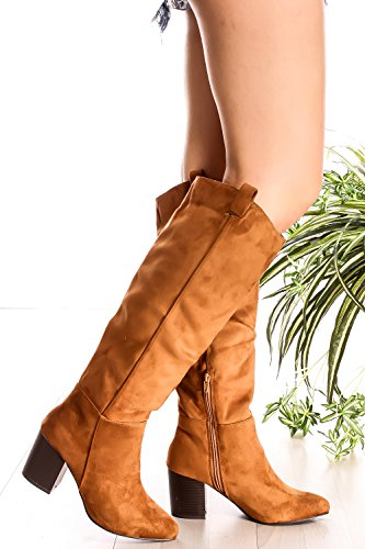 KNEE HIGH BOOT SUEDE SIDE ZIPPER POINTED TOE 6 tan 7r1tOIabqf