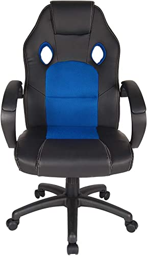 Polar Aurora Leather Office Chair High Back Ergonomic Adjustable Racing Chair Swivel Computer Gaming Chair Headrest and Lumbar Support -Blue