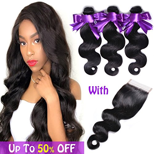 Virgin Brazilian Hair with Closure Weave Hair with Closure 4x4 Lace Closure with Bundles 100% Unprocessed Human Hair Bundles with Closure 4x4(16