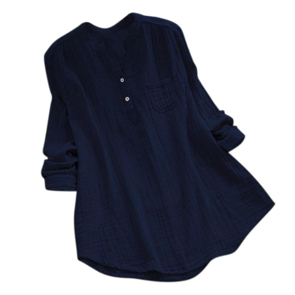 Rambling New Women Stand Collar Long Sleeve Casual Cotton Loose Soft Tunic Tops T Shirt Blouse Plus Size Navy