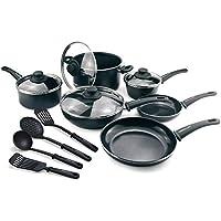 14-Piece GreenLife Ceramic Non Stick Soft Grip Diamond Cookware Set