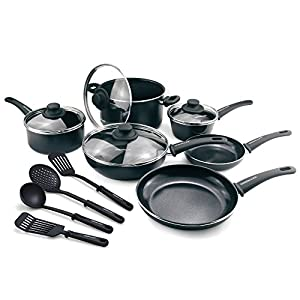 GreenLife Diamond Nonstick Dishwasher Safe, 14-Piece, Black