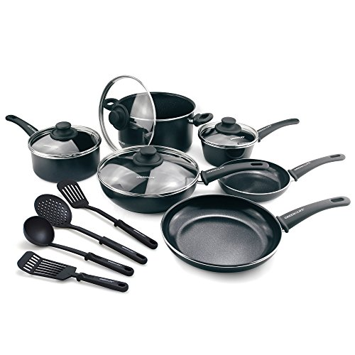 (GreenLife CW001923-004 Diamond Nonstick Dishwasher Safe, 14-Piece, Black)