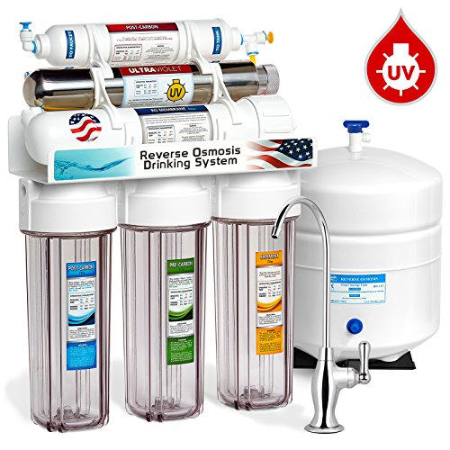6 Stage UV Ultra-Violet Sterilizer Reverse Osmosis Home Drinking Water Filtration System - Clear Housing -100gpd- DELUXE faucet - ROUV10DC - EXPRESS WATER -