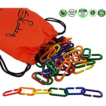 120 Rainbow Math Links with Tote by Skoolzy - FREE Pattern Sequence Download - Preschool Toys Sort Count Motor Skills