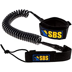 SBS 10' Coiled SUP Leash - GUARANTEED FOR LIFE - Ultra Premium 10 ft Paddleboard Leash