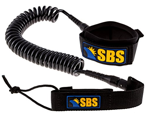 SBS 10' Coiled SUP Leash - GUARANTEED FOR LIFE - Ultra Premium 10 ft Paddleboard Leash ()