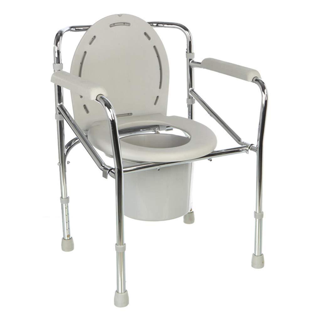 トイレチェア移動式トイレボウル高齢者妊娠中の女性トイレチェア無効折りたたみ式トイレボウル調節可能な高さ便器チェア滑り止めアームレスト、   B07RM41L4V