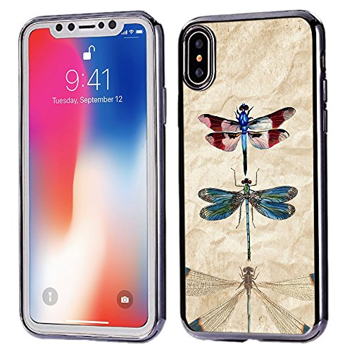 [TeleSkins] - Electroplated Shiny Soft TPU Case For iPhone Xs / iPhone X - Vintage Dragonflies Retro - Ultra Durable Soft, Slim Fit, Protective Silicone TPU Snap On Back Case / Cover