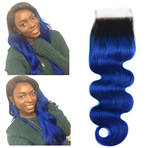 (Ombre 1b/Blue Lace Closure Brazilian Body Wave Pre Plucked Lace Closure 4x4 Free Part With Baby Hair Bleached Knots Two Tone Closure Dark Roots To Blue Hair Extensions 14 Inch )