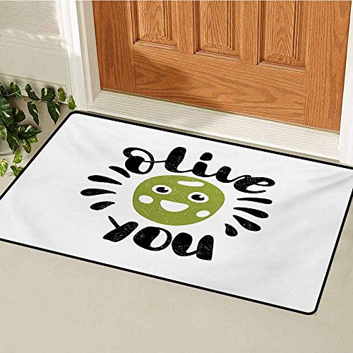 Quote Inlet Outdoor Door mat Olive You Calligraphic Phrase with a Funny Smiling Face Grungy Look Catch dust Snow and mud W23.6 x L35.4 Inch Olive Green Black and White