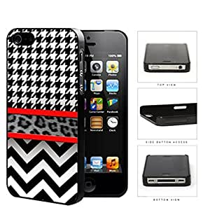Black And White Hounsdtooth Animal Print Chevron Hard Plastic Snap On Cell Phone Case Apple iPhone 4 4s