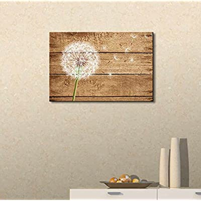 Dandelion on Vintage Wood Background - Canvas Art Wall Art -12