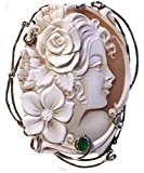 Cameo Pendant Summer Dream, Sterling Silver, Master Carved, Italian Sardonyx Shell, Natural Emerald