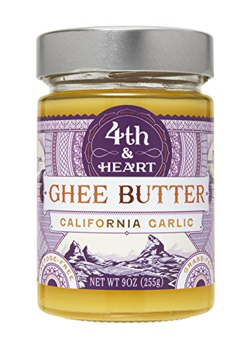 California Garlic Grass-Fed Ghee Butter by 4th & Heart, 9 Ounce, Pasture Raised, Non-GMO, Lactose Free, Certified Paleo