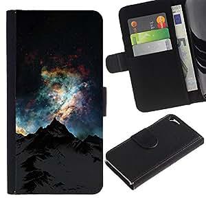 A-type (Sky Mountain Alaska Universe) Colorida Impresión Funda Cuero Monedero Caja Bolsa Cubierta Caja Piel Card Slots Para Apple iPhone 5 / iPhone 5S
