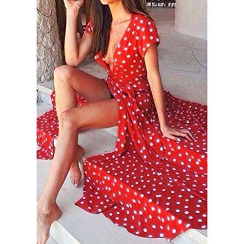 Vestido Para Mujer, Ouneed Las mujeres con cuello en v bohemio fiesta de Cóctel de larga noche vestido de verano casual Rojo