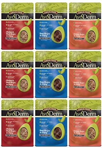 AvoDerm Natural Grain-Free Cat Food Pouches 3 Flavor Variety Bundle: (3) Chicken & Duck Recipe in Gravy, (3) Tuna Recipe in Gravy, (3) Salmon Recipe in Gravy, 3 Oz Each (9 Pouches Total)