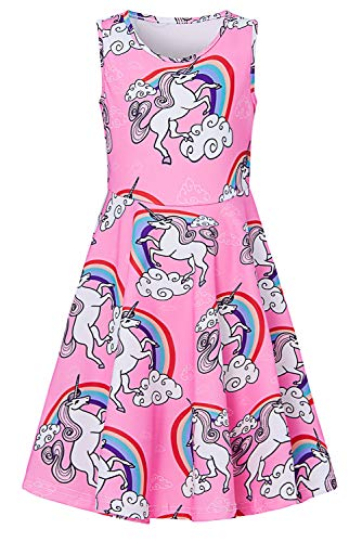 Little Kids Girl Unicorn Dress Cute Pegasus Overalls Sundress Midi Long Novelty Colorful Rainbow Cloud 3D Print Red Pink Cool Empire Waist Outfits for Toddler Baby Girls 4-5 Year Old - Present Small