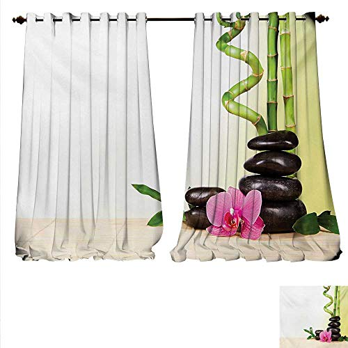 familytaste Decor Curtains by Calm Life Theme with Relax Symbol Bamboo Sprouts and Rocks Asian Meditative Zen Concept Patterned Drape for Glass Door W120 x L84 Multicolor.jpg