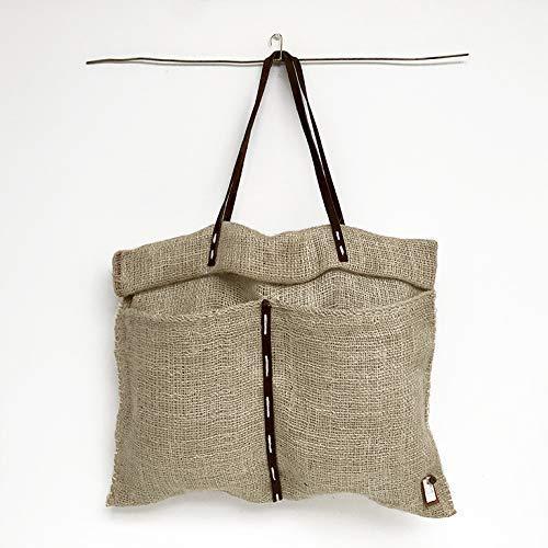 Bolso yute realizado a mano. Atemporal, resistente con tiras de cuero en camel.: Amazon.es: Handmade